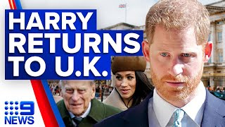 Prince Harry arrives in UK for grandfather Prince Philip's funeral | 9 News Australia