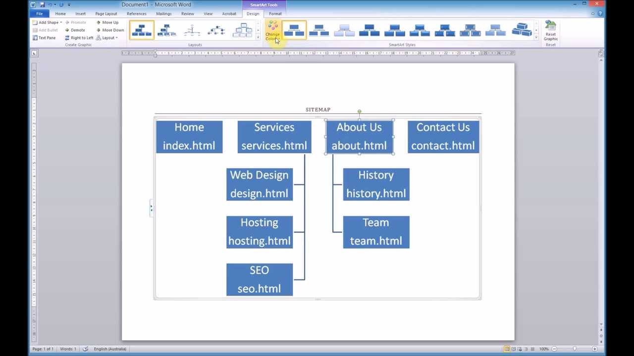 Creating a sitemap using microsoft word smartart youtube for How to plan a website