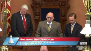 Sen. Horn welcomes Rev. Troutman to deliver invocation at the Michigan Senate