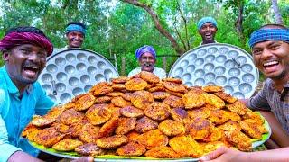 KARI IDLI  Meat Inside Idli Recipe Cooking In village  Stuffed Idli Recipe  Mutton keema Recipe