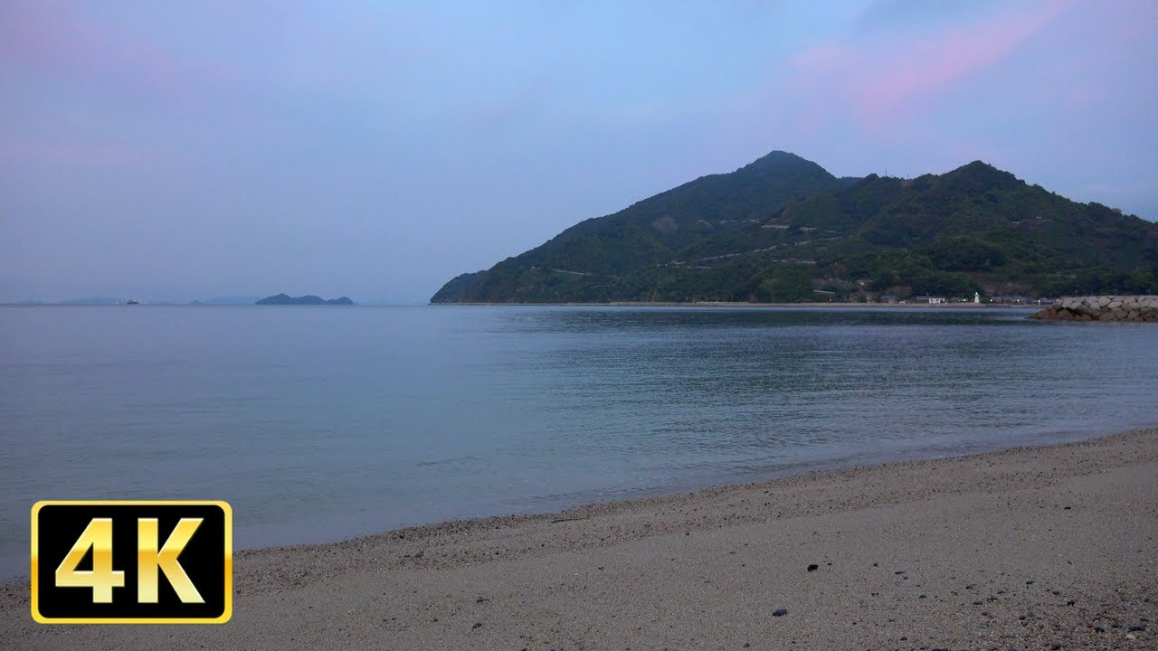 4K 瀬戸内海の波の音でくつろぐ朝の映像2時間