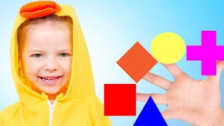 Learn Shapes and Math with Five Little Babies Jumping on the Bed Song! تعلم الأشكال