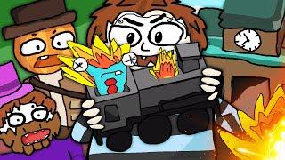 Manu sabotiert den Zug und Paluten, Zombey und maudado schreien 「Unrailed」