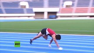 """""""En cuatro patas"""": Un japonés rompe récord mundial al correr 100 metros como mono"""
