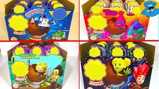 72 Шара Сюрприза Сборник Робокар Поли,Тролли,Фиксики,Алиса.Unboxing Kinder Surprise Eggs