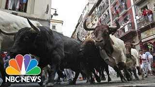 Bull Runners Tumble Onto Cobbled Streets On Fourth Day Of Pamplona Festival | NBC News