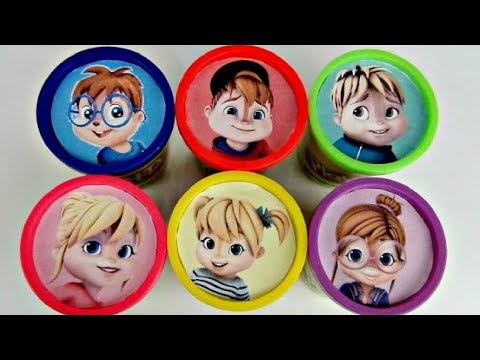 Thumbnail: Learn Colors ALVINNN!!! and the Chipmunks, Chipettes, Playdoh Lid Toy Surprises IRL / TUYC