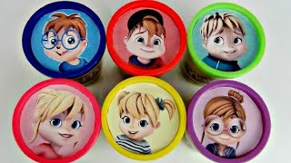 Repeat youtube video Learn Colors ALVINNN!!! and the Chipmunks, Chipettes, Playdoh Lid Toy Surprises IRL / TUYC