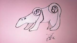 Como desenhar um tamanduá tribal para tatuagem, How to draw an anteater to tattoo