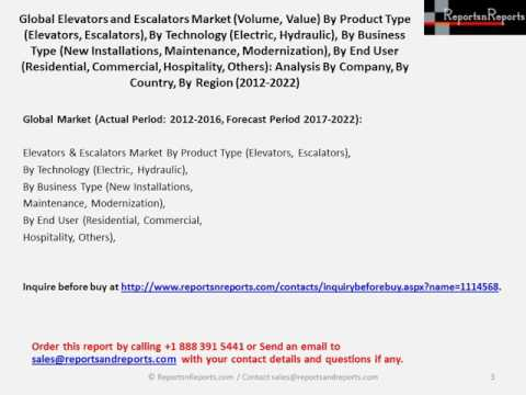 Global Elevators and Escalators Market to Grow at CAGR of 6.37% during during 2016 to 2022