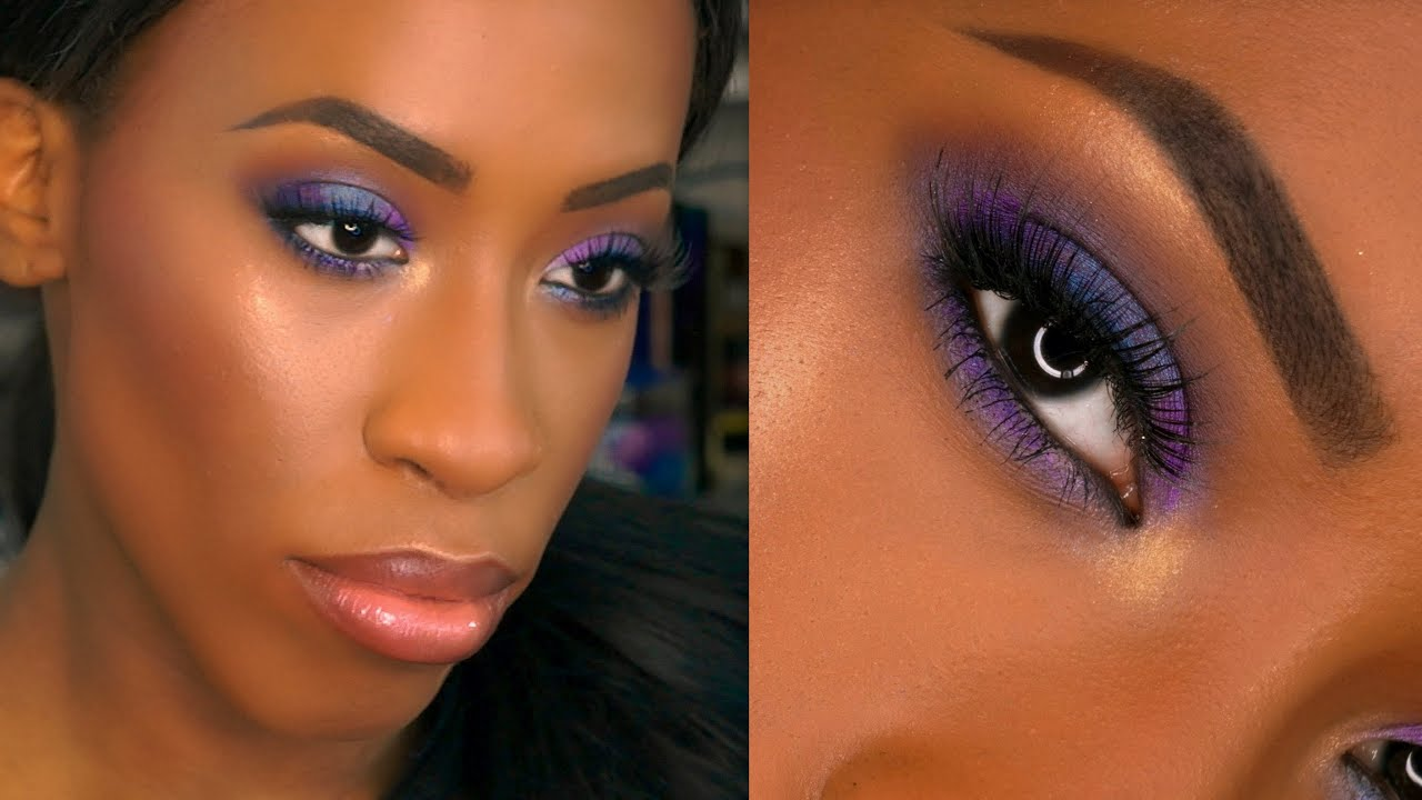 dark skin drugstore purple smokey eye prom makeup