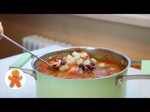 Видео: Быстрый Мясной Суп с Фасолью