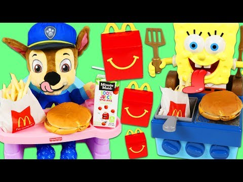 Thumbnail: PAW PATROL Feeding Baby Chase McDonalds Happy Meal SpongeBob SquarePants Grills Burgers for Chase!