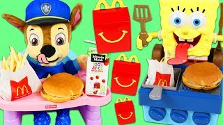 PAW PATROL Feeding Baby Chase McDonalds Happy Meal SpongeBob SquarePants Grills Burgers for Chase!