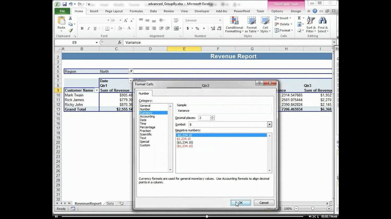 Year To Date and Variance with a Pivot Table using Summarize By