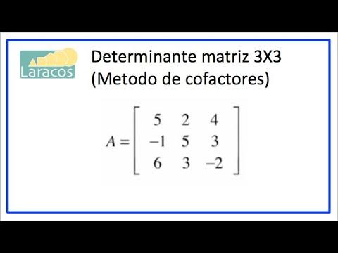 Determinante matriz 3X3 (Método de cofactores)