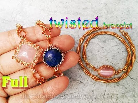 Twisted bracelet for men and for women with stone no holes - full version ( slow ) 342