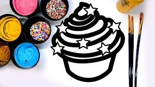 Coloring Cupcake Painting Pages with Paint, Learn to Color with Paint for Kids