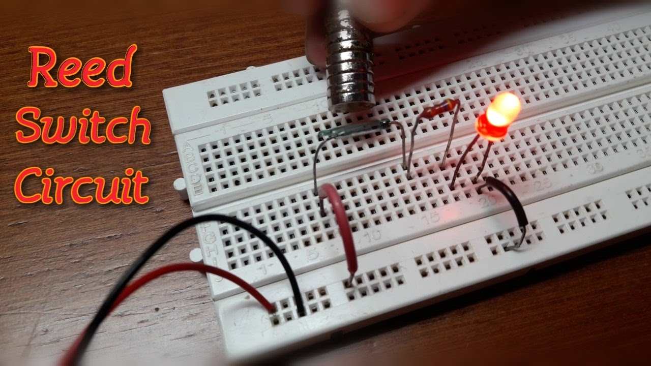 how to make a reed switch circuit circuit diagram on breadboard  [ 1280 x 720 Pixel ]