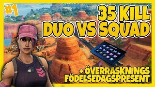 35 KILL DUO VS SQUAD WITH 13 YEAR OLD + SECRET BIRTHDAY PRESENT OF MY MODS! | FORTNITE IN ENGLISH!