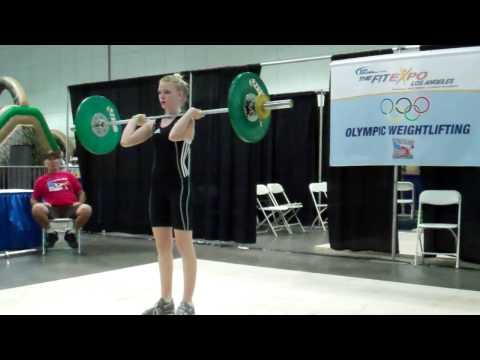 Maxine Boyd jerks 43 kg at the American Record Makers Youth Technical Competition