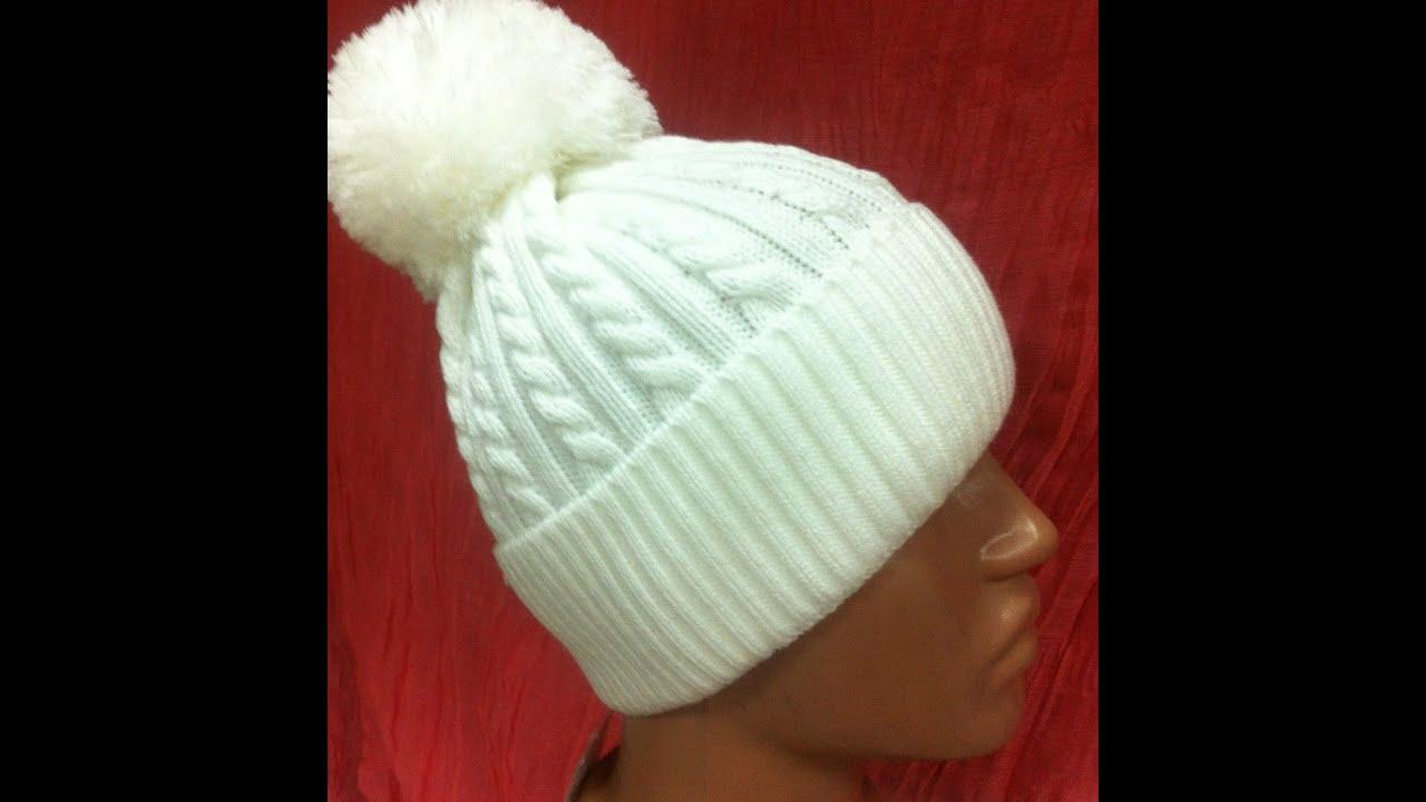 схема вязания шапки спицами для женщин с балабоном