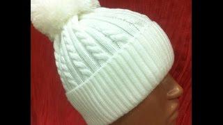 ♥♥♥Шапка жгутами спицами+шапка +с помпоном♥♥♥.Часть 1.Мастер класс +вязание спицами.Женская шапка