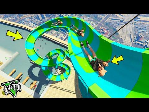 GTA 5 ONLINE 🐷 SCIVOLI D'ACQUA INCREDIBILI SU GTA 5 !!! 🐷GTA 5 ITA🐷 DAJE !!