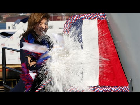 Caroline Kennedy Christens New Aircraft Carrier Named After Father