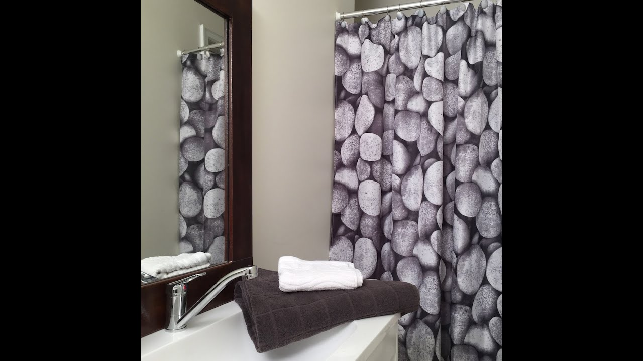Pebbles Stones Shower Curtain Set And 12 Decorative Hooks