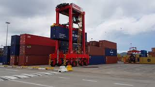 Durban harbour's brand new straddle carriers in action