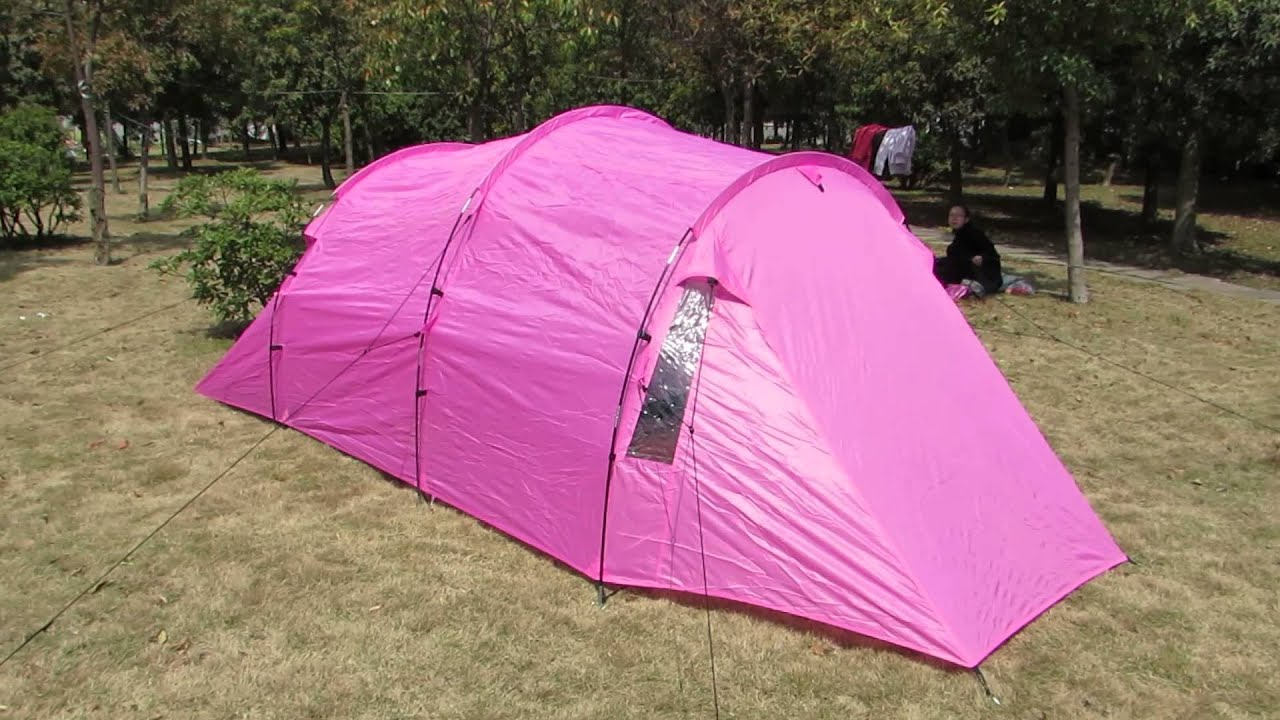 & Pink Color Double Layers 3 Man Tunnel Family Camping Tent - YouTube