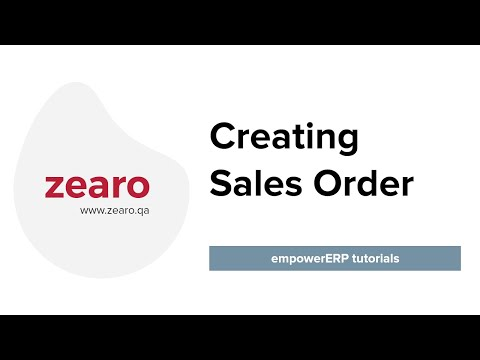 How to create a sales order