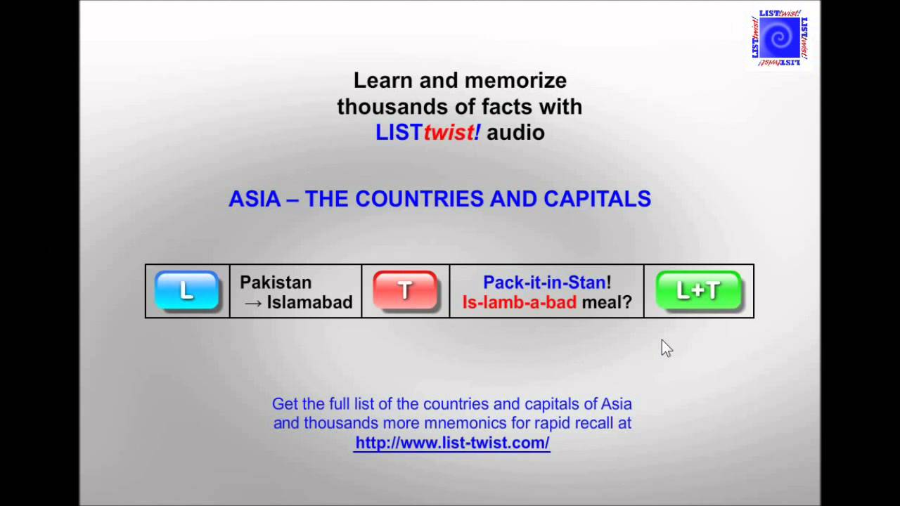 Memorize The Countries And Capitals Of Asia In Minutes