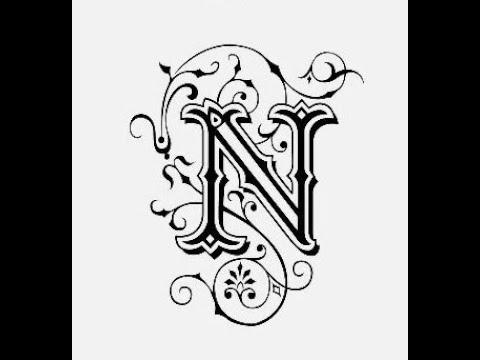 طريقة كتابة حرف N مع زخرفة الحرف تعليم الرسم للمبتدئين Youtube