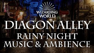 Harry Potter Music & Ambience | Diagon Alley - Rainy Nighttime Sounds for Sleep, Study, Relaxing