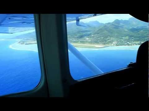Scenic flight coming into Rarotonga airport.