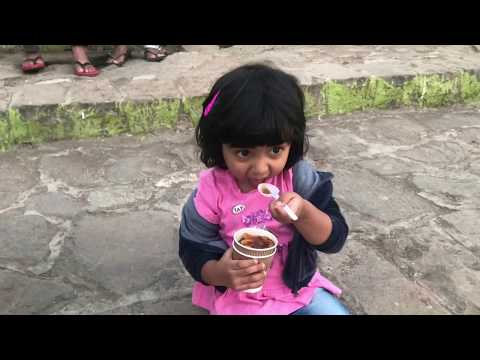 Maya loves eating soup from soup van at Mumbai's beach ( she calls it big pool!)