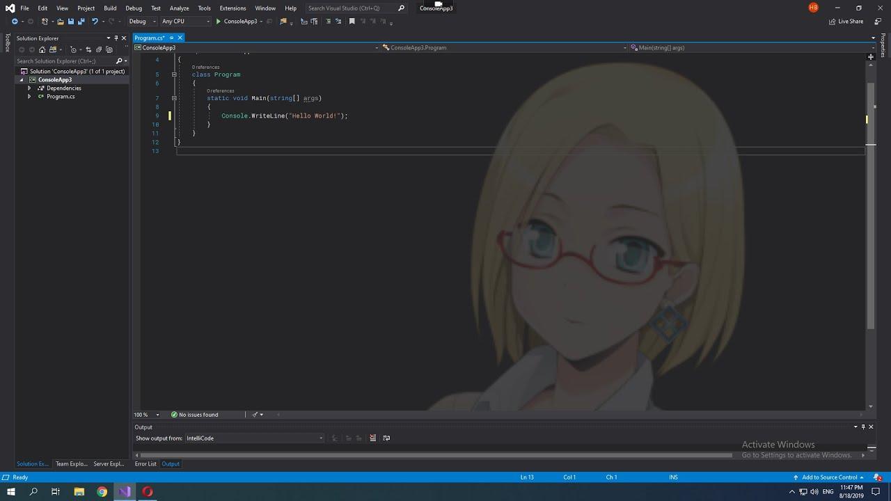How To Change Background Image Of Visual Studio 2019 Youtube