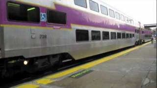 MBTA Trains in Walpole MA at 6pm During Severe Storms.