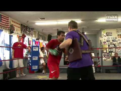 Manny Pacquiao on the mitts with Freddie Roach