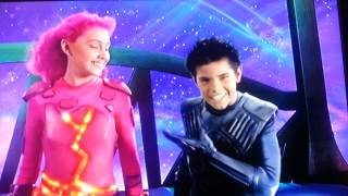 lavagirl kisses sharkboy s cheek