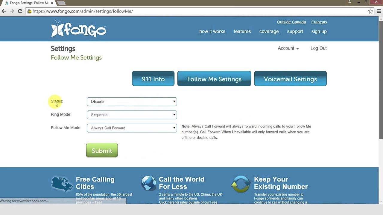 Setting Up Call Forwarding for Fongo Home Phone and Fongo Mobile