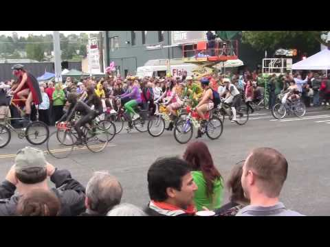 Fremont Solstice Parade Painted Cyclists 2010