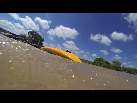 Inexperienced kayakers get flung off of their kayak in rapids!