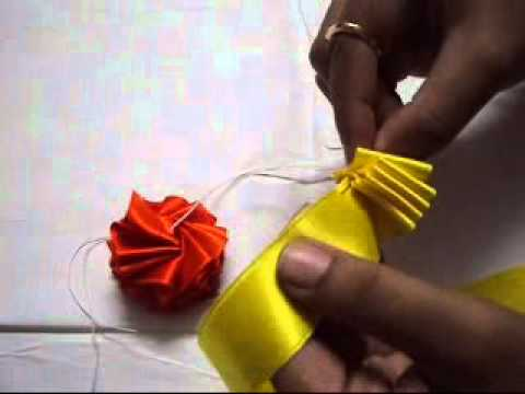 How to make a garland with multicolour satin ribbons youtube for Flower making at home