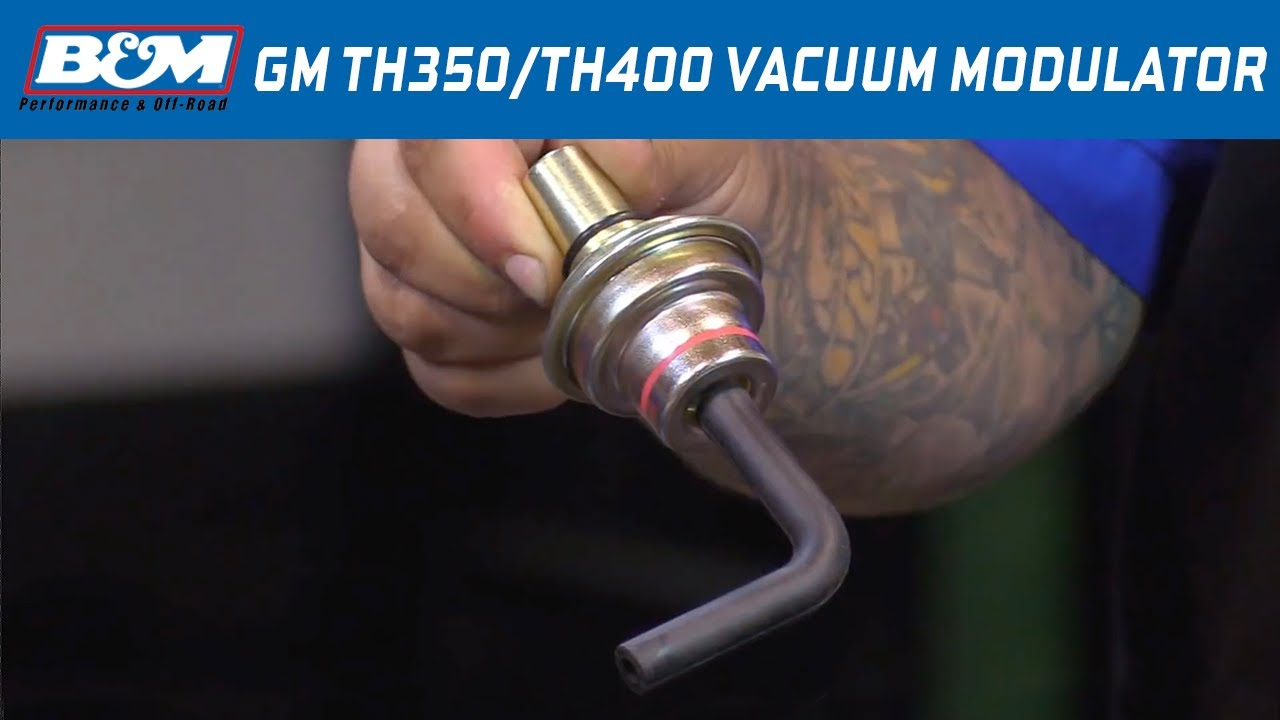 install b m vacuum modulator for gm th350 th400 automatic transmissions part 20234 [ 1280 x 720 Pixel ]