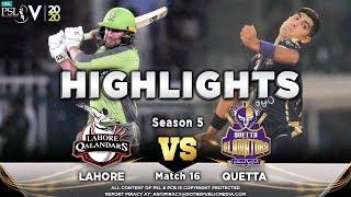 Lahore Qalandars Vs Quetta Gladiators Full Match Highlights Match 16 3rd March HBL PSL 2020