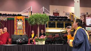 HH Sakya Trichen Rinpoche Cultural Exchange Santa Fe Indian School - Tibetan Honor Song Clip 2