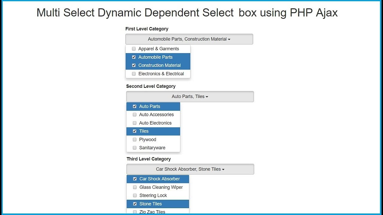 Multi Select Dynamic Dependent Select box using PHP Ajax